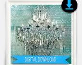 Printable Fine Art - Chandelier Wall Art - Teal Decor - Silver Teal Chandelier Print for Nursery Bedroom Decor 8x10 50x70
