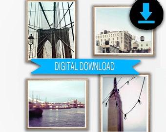 New York City Photography, Printable New York Photo Set, New York Print Set, 4 Photos, Blue Neutral NYC Art 5x7 8x10 A3