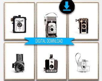 Printable Art, Camera Prints, Set of 6 Prints, Retro, Camera Photo Download, Photographer's Gift 5x7 8x10 11x14 A4 12x12