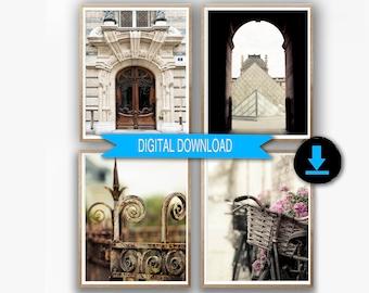 Paris Printable Fine Art, Set of 4 Prints, Rustic Paris Photo Download, 16x20 Neutral Print Set