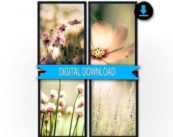 Printable Girl Nursery Decor, Green Pink Flower Photography, Pastel Wall Art, Digital Download 8x10 11x14 5x7 12x12