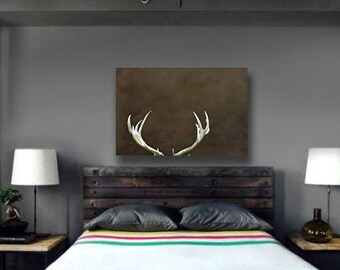 Deer Antler Decor Large Wall Art Canvas Gift for Men Rustic Nature Photography Canvas Cabin Decor Brown - Beige