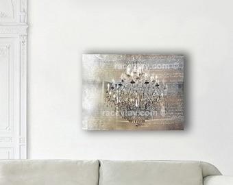 Chandelier Canvas Wall Art - Paris Photography on Canvas - Gold Silver Chandelier Wall Art Canvas