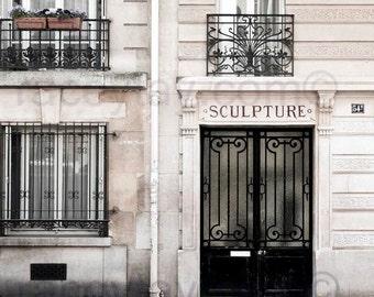 """Paris Photography, Black, Beige, Neutral, Door Print, Paris Decor, Art Nouveau Door, """"Sculpture"""""""