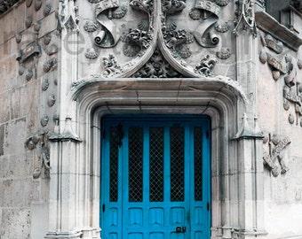 Blue Door, Paris Print, Blue Paris Door, Architecture, Turquoise, Rustic, Paris Wall Decor