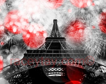 Eiffel Tower Print, Travel Gift, Black & White Photography with Red, Large Wall Art, Fireworks, Paris Decor