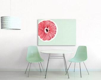 Kitchen Decor - Large Canvas Art - Pink Grapefuit, Mint Green, Pink, Large Wall Art Canvas for Kitchen