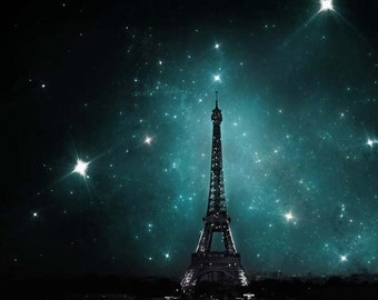 Eiffel Tower Print, Dark Blue, Paris Print, Eiffel Tower and Stars, Bedroom Wall Art