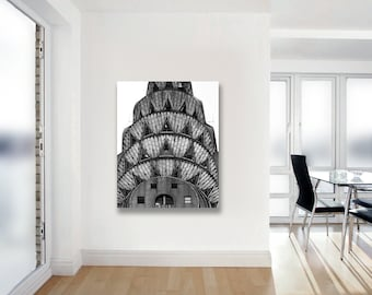 Chrysler Building on Canvas Wall Art, Black and White New York Photography on Canvas