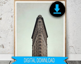 Digital Flatiron Photograph New York City Print Download New York Photography 16x20 8x10 5x7