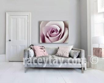 Pink Rose, Large Canvas Art, Girl Nursery Decor, Shabby Chic, Pastel Bedroom Wall Art Canvas