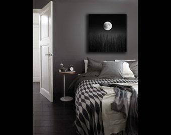Full Moon Print on Canvas, Black White Nature Photography Canvas Wall Art, Moon Decor