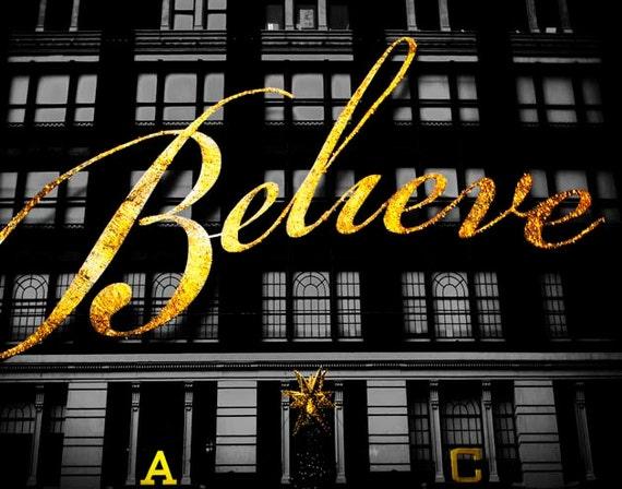 Macy\'s Believe Sign New York Print Black Gold | Etsy