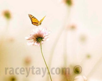 Nature Photography, Butterfly Print, Girl Nursery Decor, Pastel Art, Pink, Beige, Nursery Art Print