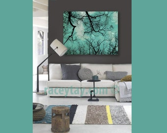 Nature Photography on Canvas Teal Wall Art Large Canvas Art Moon and Stars