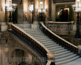 Paris Print, Opera House, Music Gift, Grand Staircase, Neutral, Bedroom Wall Art, Chandelier, Palais Garnier Paris Opera