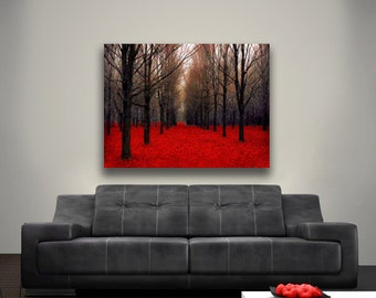 """Large Canvas Art, Nature Photography Canvas Red Forest Rustic Wall Art Canvas Black """"Fiery Autumn"""""""