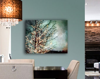 Large Abstract Canvas Art, Teal Wall Art Canvas, Gold, Black, Blue Green, Nature Photography Canvas