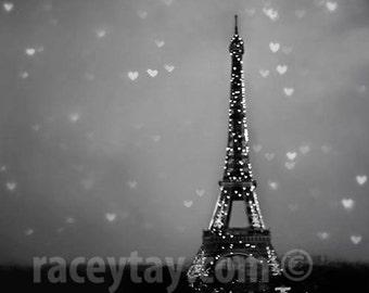 Paris Print, Eiffel Tower Hearts, Black & White Photography, Starry Night Sky