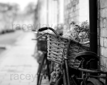 Black and White Paris Photography, Bike Print, French Country, Bicycle Photo, Black and White Bedroom Wall Art