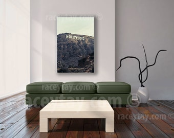 Hollywood Sign, Large Canvas Art, Neutral, Green, Brown, Los Angeles Print on Canvas, Film Buff, Movie Decor