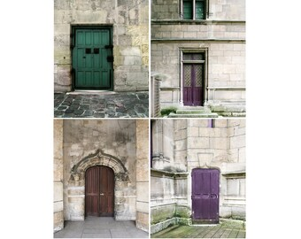 SALE, Paris Prints, Doors, Rustic Decor, Purple, Brown, Gray, Set of 4 Prints