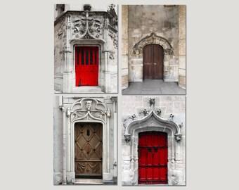 SALE, Door Prints, Paris Photography, Red Door, Brown Door, Rustic Wall Art, Set of 4 Prints