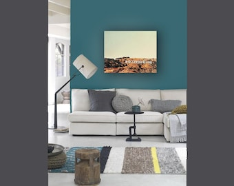 Canvas Art Hollywoodland California Print on Canvas, Large Wall Art, Mint, Brown, Hollywood Sign, Large Canvas Art