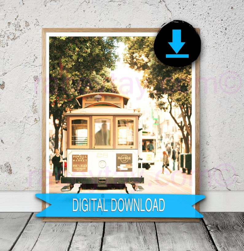 dab52fba447 San Francisco Cable Car Print Printable Fine Art Gold | Etsy
