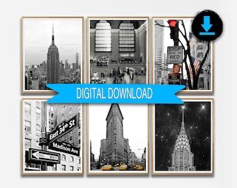 New York Photography, Printable Set of 6 Prints, New York Print Set, NYC Photo Set Download 8x10 5x7 11x14 A4