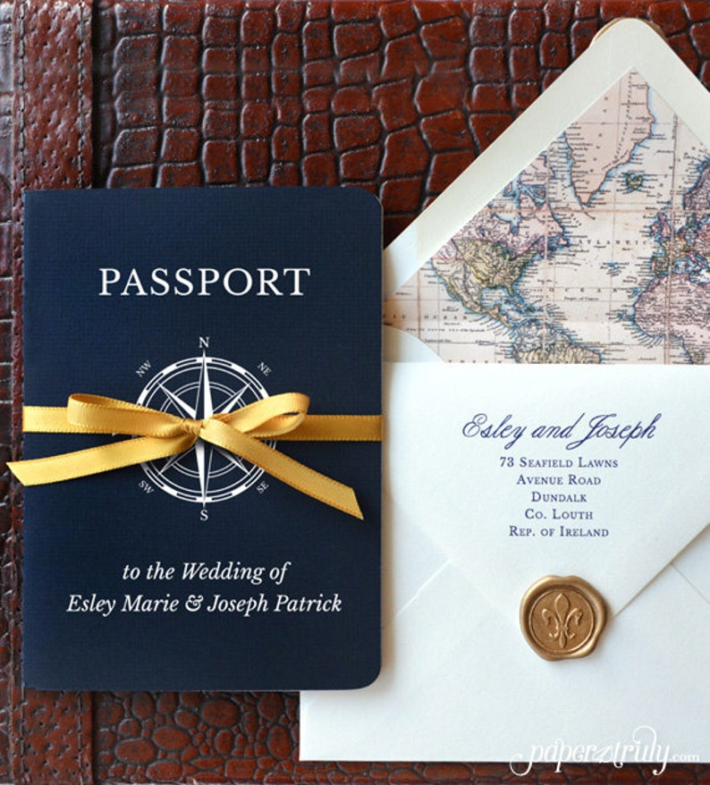 Come Away With Me  Passport Wedding Invitation  SAMPLE ONLY image 0