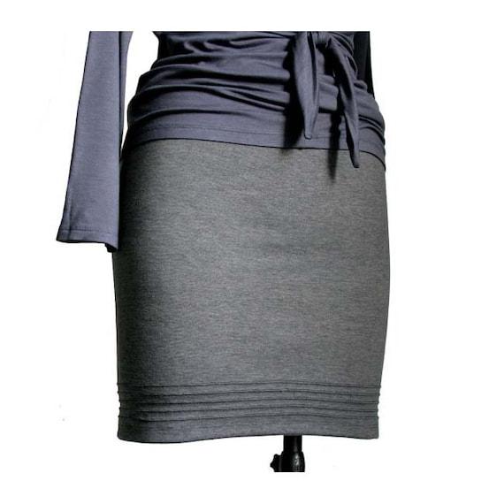 skirt Jersey waist skirt Fitted Elastic Pencil skirt skirt Grey Office Straight size Plus Everyday skirt skirt Skirt Casual skirt gqWCwB4