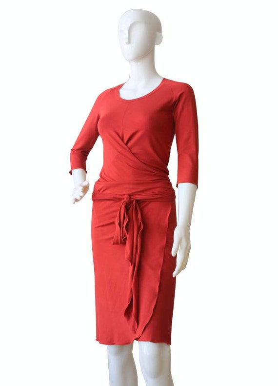 dresses Knee clothing dress dress length Wrap Dress orange dress XXL dress size Womens Dress womens Plus Terracotta XL qqR7F