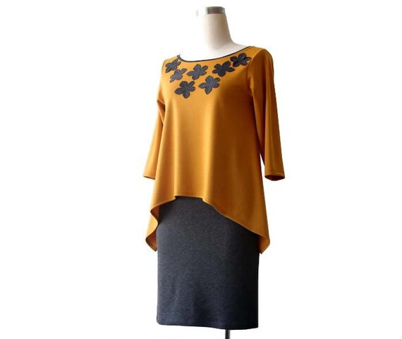 top top Boat top Plus Womens top sleeve Yellow 4 neck size tunic clothing Mustard Jersey top Plus Long 3 top blouse size sleeve HdYOpqxn