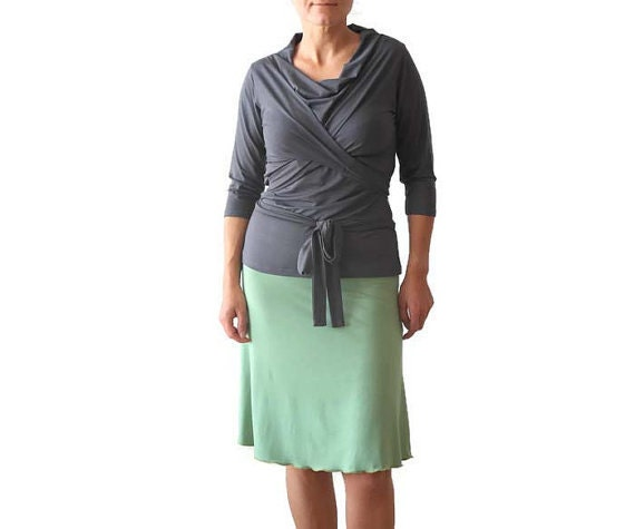 top Xl Twist Cowl wrap Short 3 wrap Handmade size Sleeve 4 top Grey Top Sleeve Top Sleeve Long XXL top Plus clothing Wrap top Top TqrfwT6