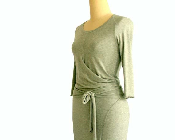 dress dress Womens Jersey clothing dress dress raglan Midi by Fashion day Wrap Dress Tasi Women's with sleeves wrap long sleeve maxi Spring I7xPBna