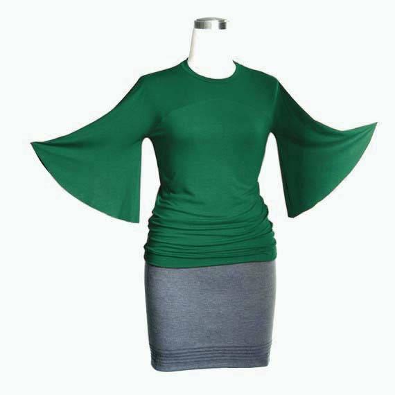 size plus sweater Top Green Custom Plus neckline Custom Top clothing top Bell 3 4 Sleeve Elegant top Round size sleeve sleeve Bell top fXFnnxq4