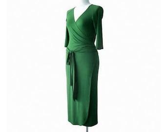 Wrap dress, Long green dress, Long Green Wrap Dress, Long sleeve dress, Sexy dress, Plus Size Wrap Dress, V neck Dress, Plus size clothing