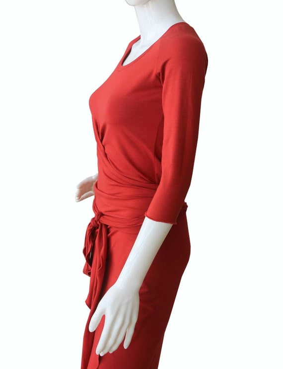 dress womens dress Knee size XL orange dress Terracotta length clothing dress dresses Plus Dress Dress Womens Wrap XXL gqwYPfx