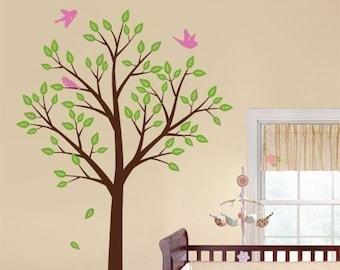 Tree and Birds Wall Decal, Tree Wall Decal for Nursery Kids Room Decor, Tree Nursery Decal, Tree Sticker, Baby Room Tree Decal