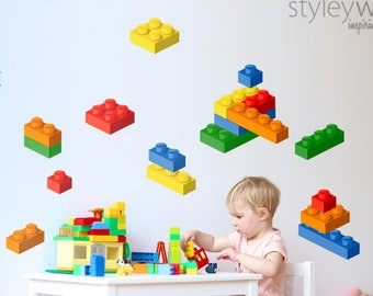 Building Blocks Wall Decal, Lego Wall Sticker, Bricks Wall Sticker, Blocks Playroom Wall Decor, Nursery Kids Room Decor, Repositionable