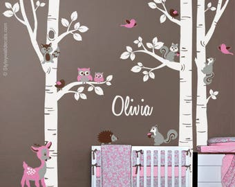 Birch Trees Sticker, Birch Trees Wall Decal, Forest Animals Wall Sticker, Bambi Squirrels Birds Owls Forest Trees Wall Decal, Nursery Decor