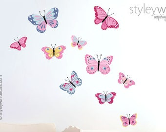 Butterflies Wall Decal, Butterfly Wall Decal, Butterflies Wall Sticker, Butterfly  Nursery Decor, Butterflies Baby Girls Room Wall Decals