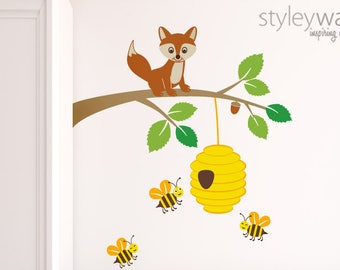 Fox Wall Decal, Fox Wall Sticker, Bees Wall Decal, Fox and Branch Wall Decal, Forest Animals Wall Decal, Kids Baby Room Nursery Decal Decor