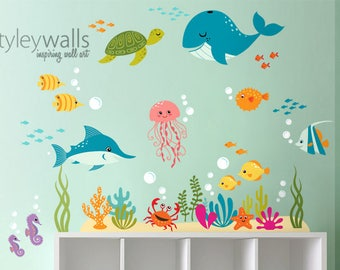 Unterwasser Wandtattoo Fische Wandtattoo Aufkleber Wandaufkleber Ozean,  Meer Leben Kreaturen Wandtattoo, Aquarium Wandtattoo Für