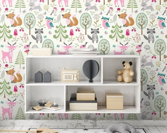 Woodland Animals Wallpaper Pink Forest Repositionable Removable Fabric Girls Room Decor Peel And Stick Self Adhesive