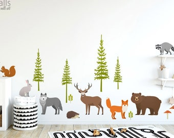 Forest Animals Wall Decal, Realistic Woodland Animals Wall Decal Sticker, Owl Wall Decal, Fox Wall Decal, Woodland Nursery Decor Sticker