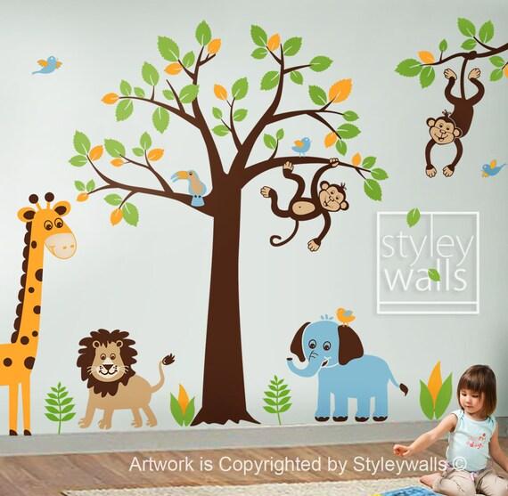 Dschungel Baum Wandtattoo Dschungel Tiere Wandtattoo Etsy