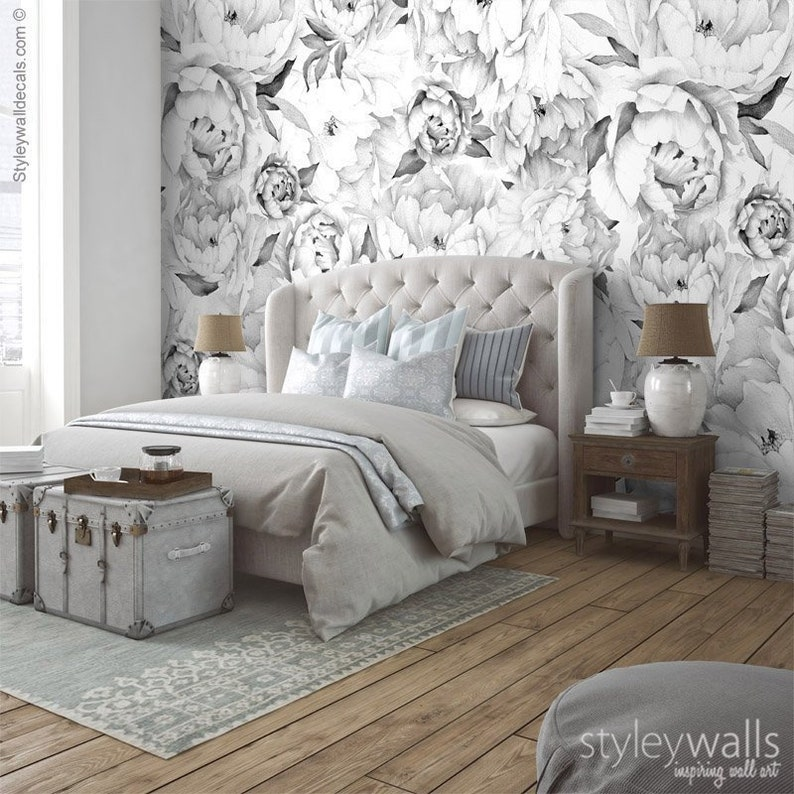 Peony Wallpaper Peony Wall Mural Peonies Floral Wallpaper Black And White Watercolor Flowers Wallpaper Repositionable Fabric