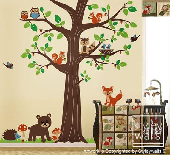 woodland animals wall decal woodland wall decalforest   etsy